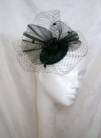 Black Elizabeth Vintage Style Veiling and Crinoline Fascinator