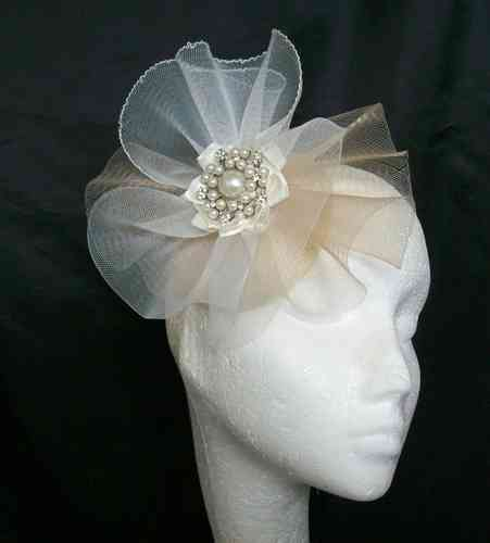 Patsy- Swathes of Crinoline and Brooch Detail Percher Fascinator