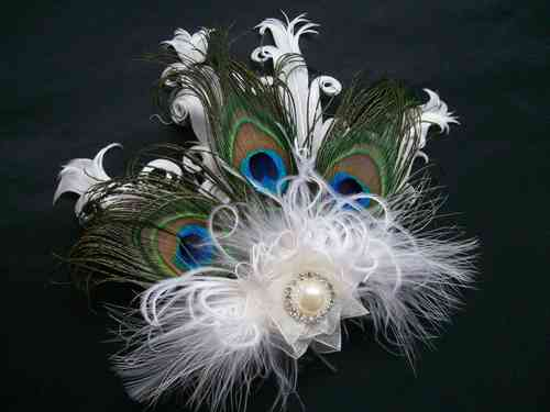 Ivory Daphne Vintage Style Peacock Feather Fascinator