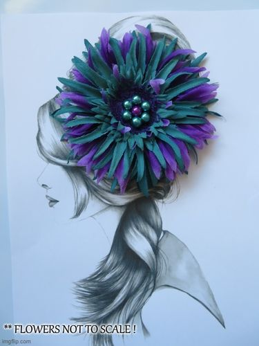 Purple & Teal Penny Blossom Clip