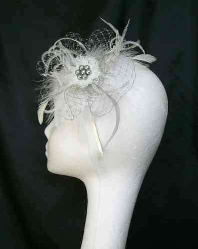 Betsy Feather and Veiling  Net Vintage Style Fascinator - Custom Order
