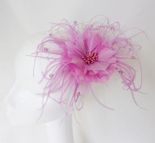 Pretty Lavender Feather Flower and Crystal Vintage Hair Comb