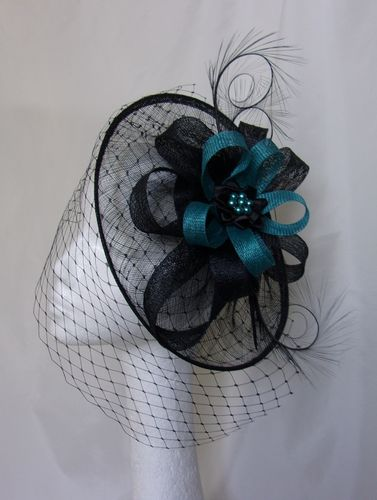 Teal and Black Veiled Cecily
