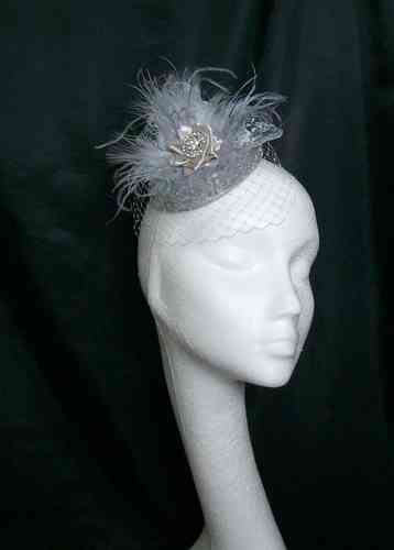 Silver Grey Pippa Lace & Feather Vintage Style Percher Hat