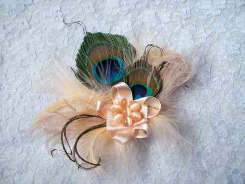 Peach Little Gem Peacock Feather Hair Clip