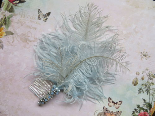 Pale Blue Octavia Beaded Comb