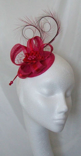 Cerise Pink and Red Isabel Curl Feather and Sinamay Ribbon Detail Fascinator