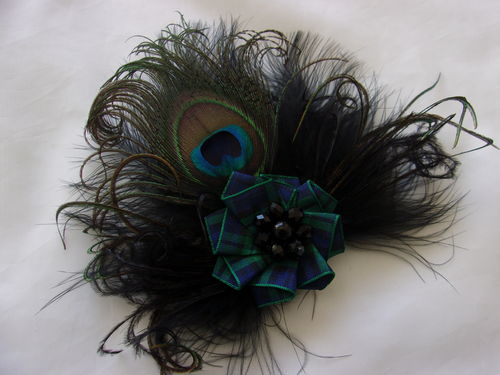 Black Peacock Feather Tartan Brooch