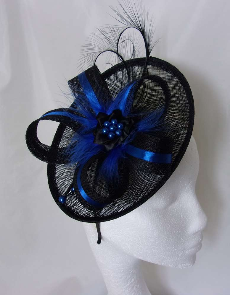 399c5c5366a0d Royal Cobalt Blue   Black Curl Feather and Sinamay Fascinator Hat