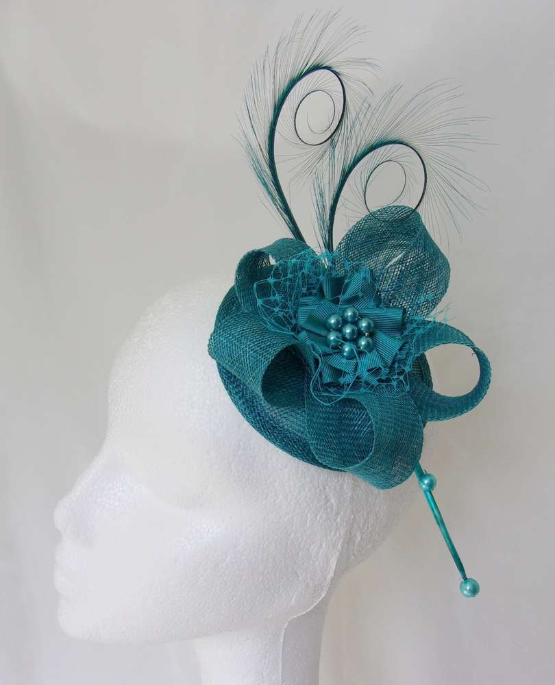 00a9585bbb8 Teal Petrol Blue Curl Feather Sinamay Pearl Wedding Fascinator Hat