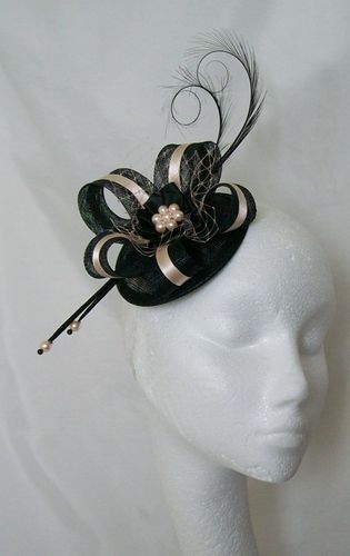 Black and Peach Isabel Curl Feather and Sinamay Ribbon Fascinator