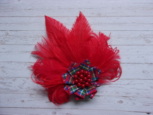 Red Royal Stewart Feather Brooch