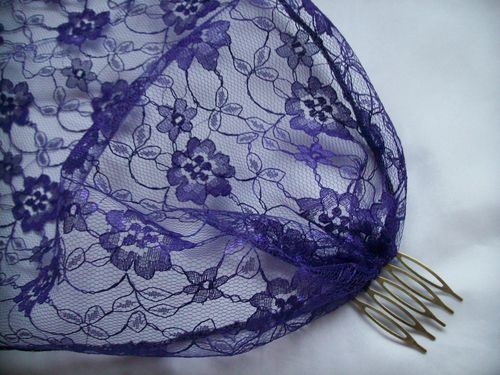 Dark Purple Vintage Style Lace  Veil
