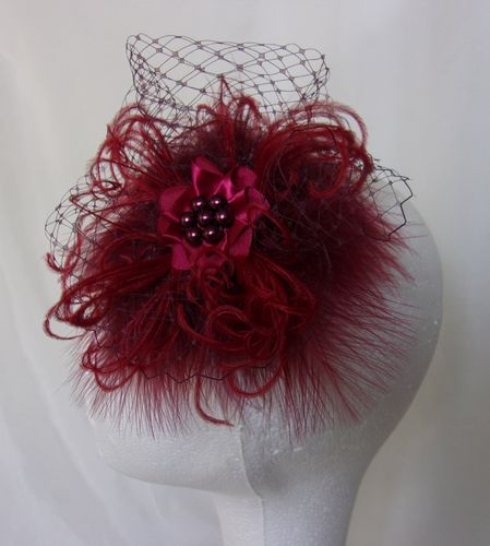 Dark Burgundy Wine Marsala Fluff Feather Veil & Pearl Betsy Vintage Style Mini Fascinator Wedding Ha