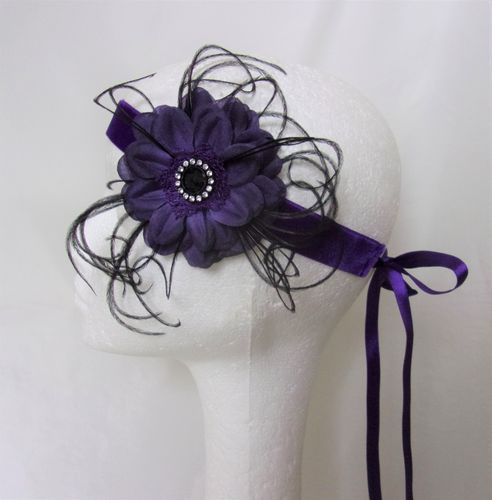 Purple & Black Flower Flapper Band