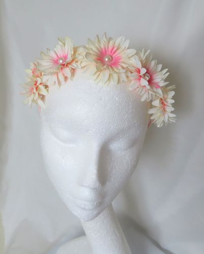 Coral and Cream Flower Crown