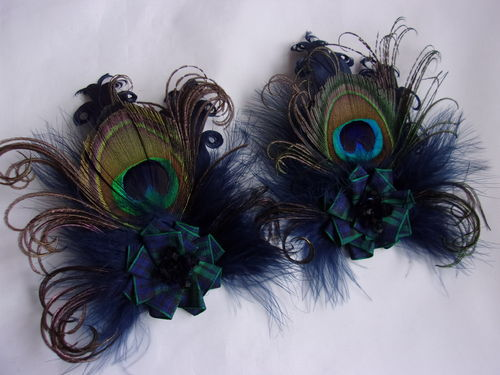Navy Peacock Feather Blackwatch Tartan Brooch Buttonhole