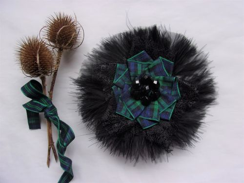 Black Feather Black Watch Tartan Brooch