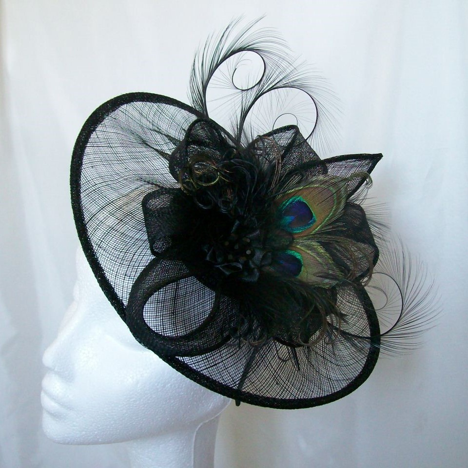 Black Peacock Feather Lavinia Sinamay Saucer Pheasant Curl