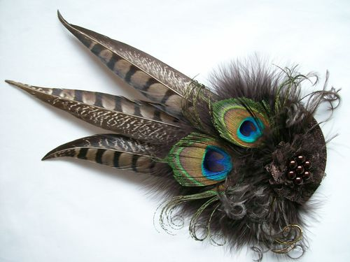 Chocolate Brown Rustic Minerva Pheasant and Peacock Feather Hair Clip Fascinator