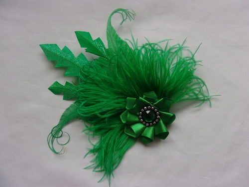 Emerald Green Feather Clip