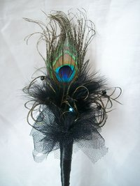 Black Peacock Feather Fairy Wand