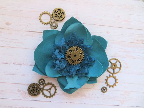 Teal Steampunk Brooch