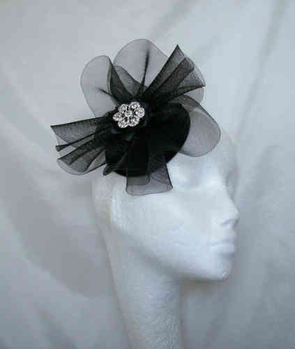 Black Patsy Crinoline Swirl and Brooch Fascinator