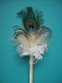 Cream Peacock Feather Flower Girl Fairy Wand