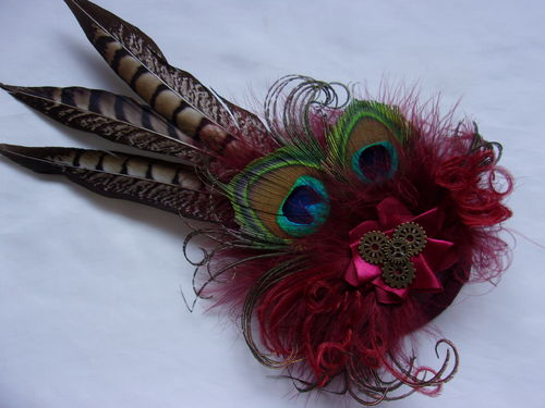 Dark Burgundy Marsala Pheasant and Peacock Feather Steampunk Headpiece