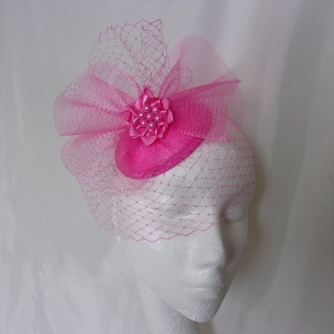 Bright Fuchsia Hot Pink Vintage Style Blusher Veil & Crinoline Fascinator Hat