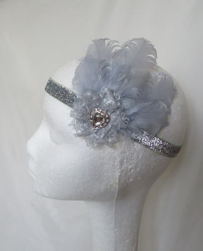 Silver Grey Grace Glitter Flapper Band