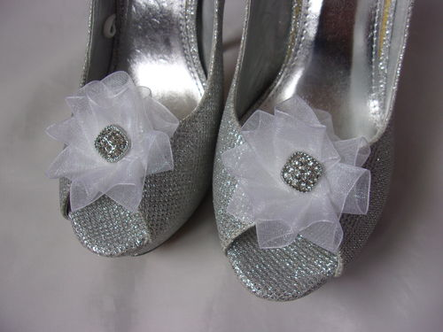 White Organza & Diamante Shoe Clips