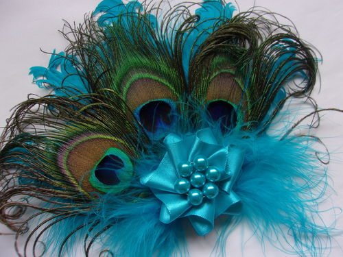 Turquoise Blue Daphne Vintage Style Peacock Feather Hair Clip