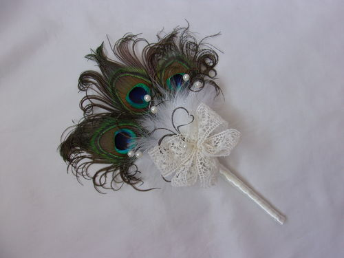 Peacock Feather Mini Wand Bouquet