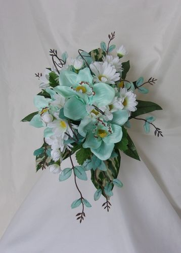 Aqua Blue and White Cascade Bouquet - Ready Made