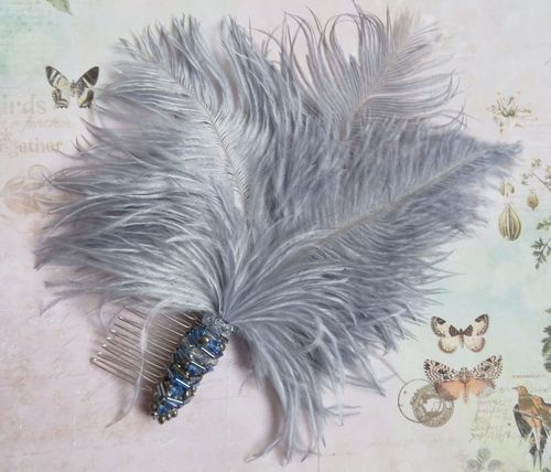 Pale Slate Blue Grey Beaded Feather Comb