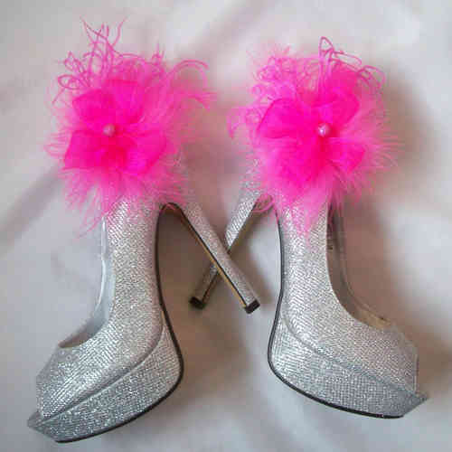 Fuchsia Pink Feather Shoe Clips