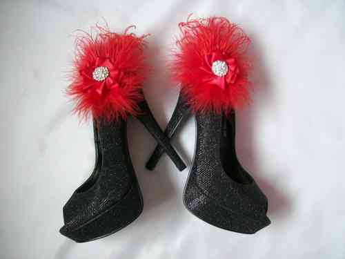 Red Feather Shoe Clips