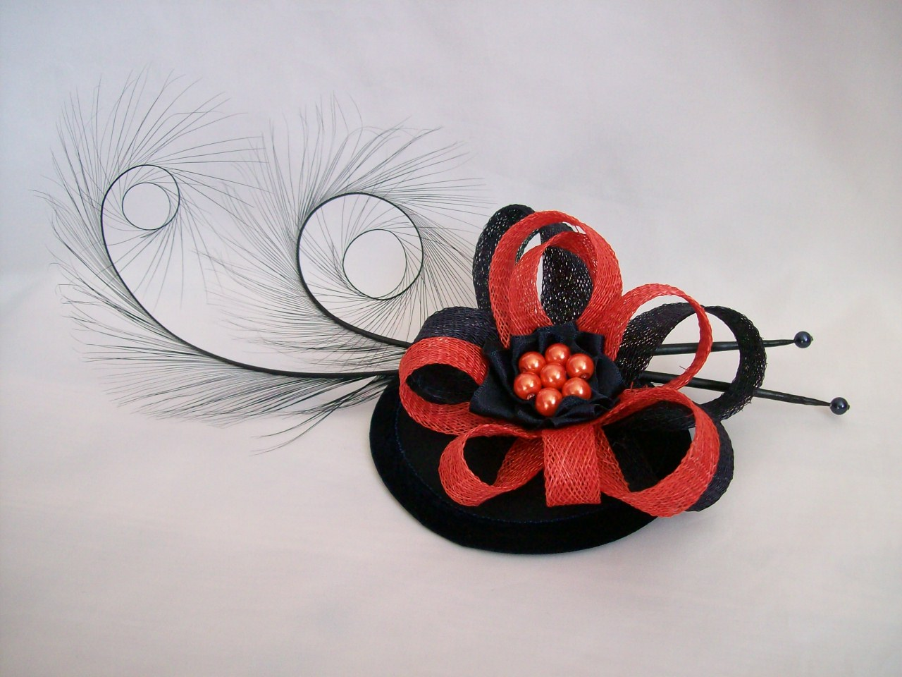 Navy Blue   Orange Pheasant Curl Feather and Sinamay Fascinator 106bdd2daf7