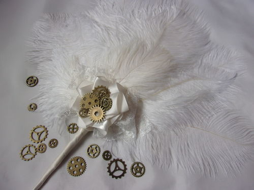 Ivory Ostrich Feather Bridal Hand Fan with Steampunk Watch Cogs