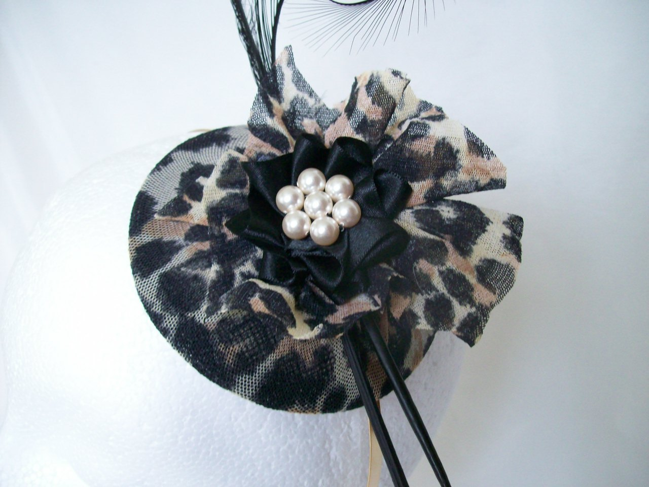 Leopard Print Amp Black Diana Curl Feather Pearl Fascinator