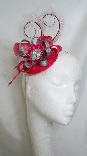 Cerise Pink and Silver Delilah Curl Feather and Sinamay Loop Fascinator