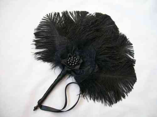 Black Ostrich Feather Mini Wedding Hand Fan