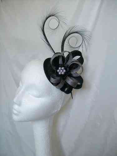 Black and Grey Delilah Curl Feather and Sinamay Loop Fascinator