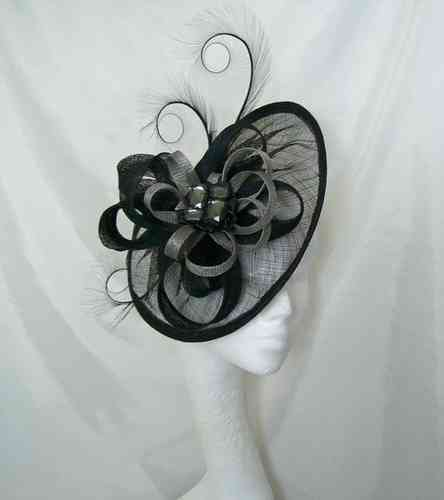 Black and Grey Cecily Saucer Style Feather and Sinamay Loop Fascinator Hat