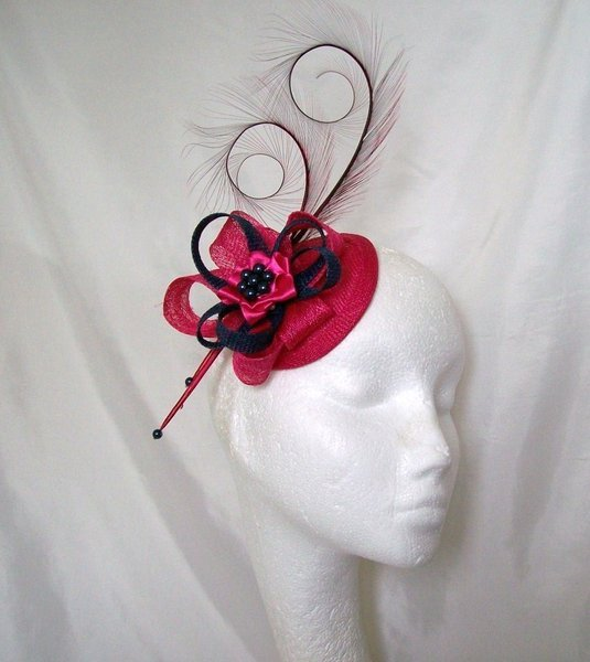 Cerise Pink and Navy Blue Pheasant Curl Feather Sinamay   Pearl ... dfc28263ac2