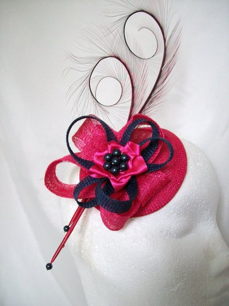Cerise Pink And Navy Blue Pheasant Curl Feather Sinamay