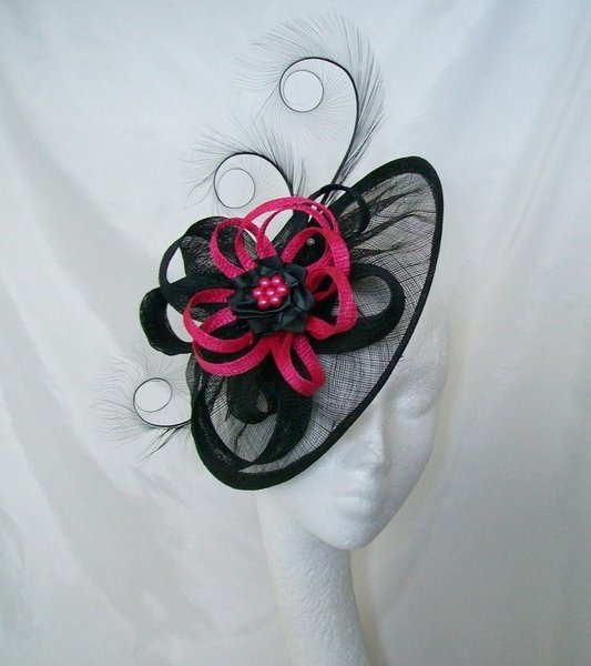 68fd288e5e719 Black Sinamay Saucer Curl Feather and Cerise Hot Pink Fascinator Hat
