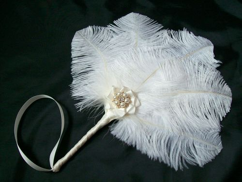 Ivory Ostrich Feather Mini Wedding Hand Fan